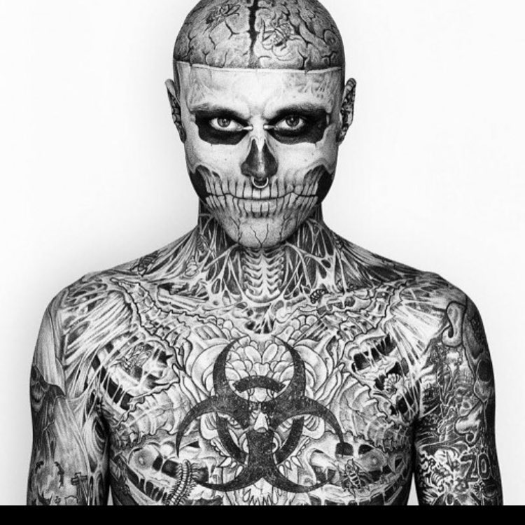 zombieboy is a real human completely covered in tattoos fromhellip