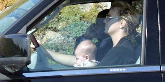 Britney Spears Biography - son Sean in lap in car
