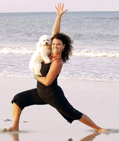 Doga on the beach (dog yoga)