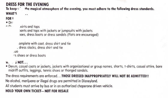 Grad Night Dress Code