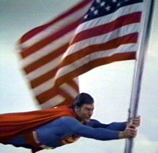 Superman Carries U.S. Flag