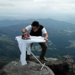 Mountaintop Extreme Ironing