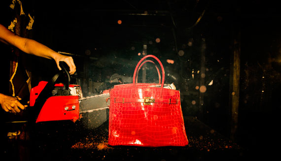 Birkin Destroyed with  Chainsaw