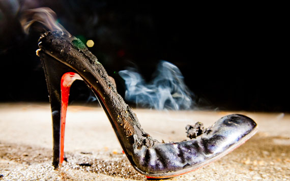 Burnt Christian Louboutin Shoes for Art
