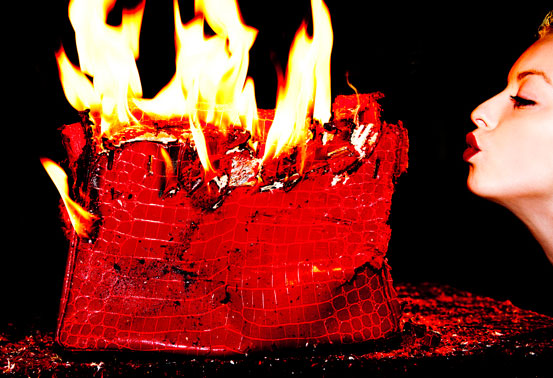 Francesca Eastwood Fans Flames of birkin bag