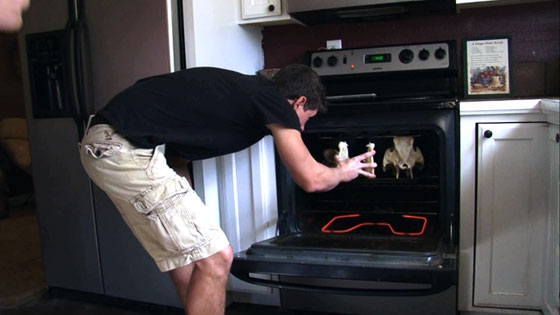 Baking Hog Skulls In Kitchen Oven