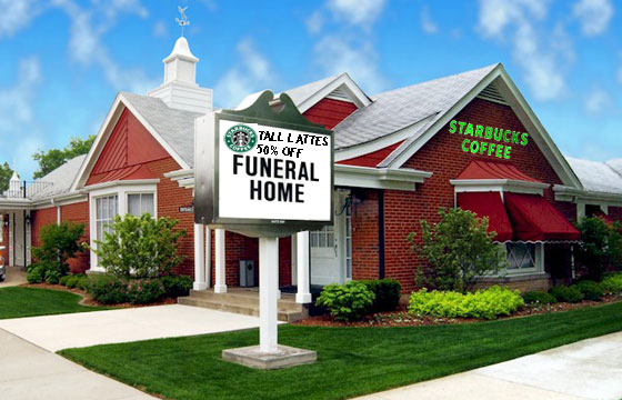 Starbucks in Funeral Home