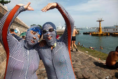 Bizarre looking face-kini on Chinese beach