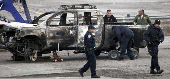 Dorner's torched truck found.