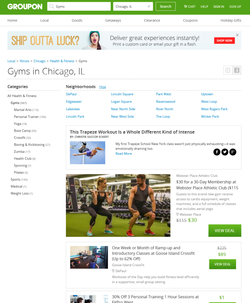 Chicago Gyms Groupon