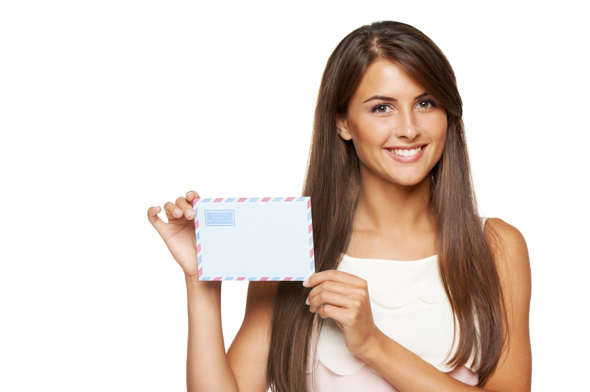 Closeup of happy smiling woman showing blank avia envelope, over white background.